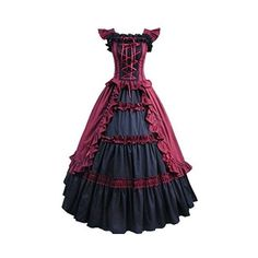 Partiss Women's Cap Sleeve Ruffles Masquerade Gown Gothic Lolita Dress ❤ liked on Polyvore featuring dresses, gowns, purple ball gowns, masquerade gowns, gothic dresses, purple evening gowns and purple gown