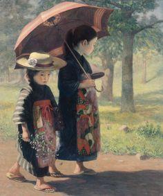 Camino de la escuela, de Kojima Torajiro (1906)