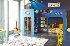 Blue Contemporary Stained Wooden Kids Bunk Bed White Fabric Shag Area Rug Modern Flowered Polyester Memory Foam Mattress Yellow Metal Chair Decorative Bedding Pillow 30 Cool Loft Bed Bedroom Ideas For Kids