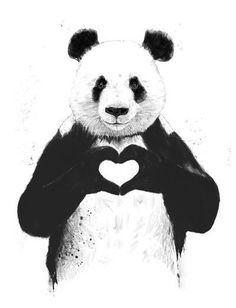 """The Stupell Home Decor Collection 10 in. x 15 in. """"Black and White Panda Bear Making a Heart Ink Illustration"""" by Balazs Solti Wood Wall Art, Multi-Colored"""