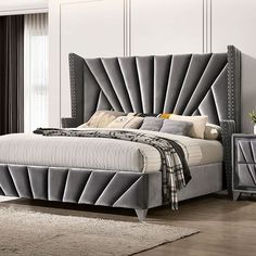 """CM7164Q Carissa gray fabric upholstered art deco style design queen bed with nail head trim accents. Queen bed measures 89"""" L x 70 1/2"""" W x 65 3/4"""" H. Some assembly required. Also available in Cal King, Eastern King at additional cost. Bed Headboard Design, Bedroom Bed Design, Bedroom Furniture Design, Headboards For Beds, Modern Headboard, Bedroom Furniture Stores, Bed Furniture, Grey Upholstered Bed, Adjustable Bed Frame"""
