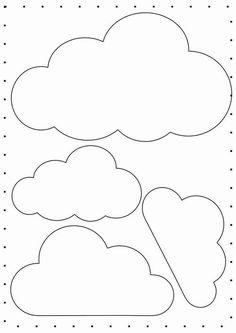 Nuvem de Feltro – Moldes de Enfeites de Nuvens em Feltro Felt Cloud – Selection of felt cloud molds to make beautiful ornaments and souvenirs! Felt Crafts, Diy And Crafts, Crafts For Kids, Paper Crafts, Cloud Template, Baby Mobile, Felt Mobile, Cloud Mobile, Diy Bebe