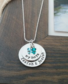 My Boys Necklace // Personalized Necklace with Kids Names and Birthstones // Hand Stamped Jewelry // Custom Necklace for Mom of Boys