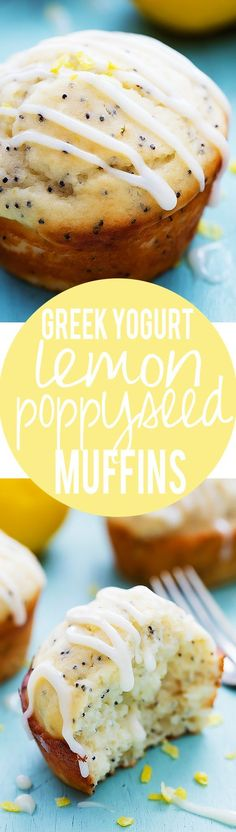 Greek Yogurt Lemon Poppyseed Muffins with Lemon Cream Cheese Glaze | Creme de la Crumb