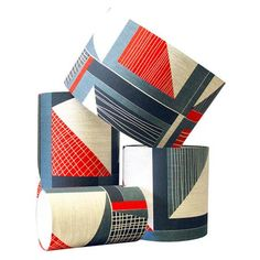 Tamasyn Gambell - Abstract Square Lampshade: Red Blue Charcol, Choose Size