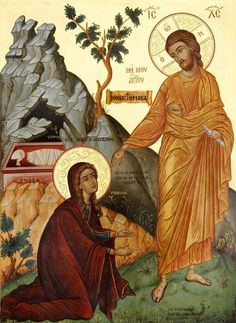 No me toques Byzantine Icons, Byzantine Art, Mary Of Bethany, Greek Icons, Noli Me Tangere, Marie Madeleine, Pictures Of Christ, Bible Images, Christ Is Risen