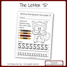 """Brightly Street: """"Sammy the Squirrel"""" The Letter """"S"""" Download this Free worksheet for your preschooler called """"Sammy the Squirrel.""""  Your kids will love this fun squirrel to color and practice tracing the letter """"S."""""""