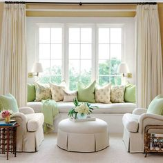 Stylish Bedroom Seating - Southern Living - If you have the space, create a reading nook or seating grouping in your bedroom where you can retreat from the hustle and bustle of the rest of your house. Off White Curtains, Pleated Curtains, Long Curtains, Window Curtains, Bedroom Reading Nooks, Custom Made Curtains, Bedroom Seating, How To Make Curtains, Stylish Bedroom