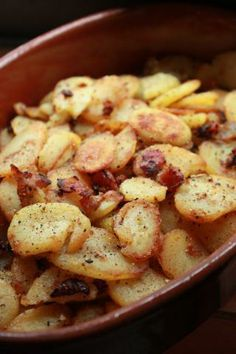 German-Style Fried Potatoes - Bratkartoffeln Serves 4  1 1/2 lb small potatoes, boiled in their skins, peel, then place the potatoes in the ...