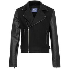 TOPMAN Black Wool Mix Biker Jacket With Leather Look Sleeves ($125) ❤ liked on Polyvore featuring mens, men's clothing, men's outerwear, men's jackets, jackets and black