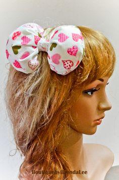 Pink hearts print fabric poofy bow hair clip/Lolita by SewingitAU