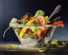 Dutch photo-realistic painter Tjalf Sparnaay is another artist who focused on the painting of daily still life. Influenced by the Dutch masters Vermeer and Rembrandt, Tjalf created delicious portraits of food that are so detailed. Tjalf Sparnaay, Food Clipart, Hyper Realistic Paintings, Food Carving, Food Painting, Tea Art, Dutch Artists, Still Life Art, Realism Art