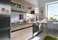 Compact Complete Kitchen Set with Extra Cabinets JUNONA Sonoma-Wenge