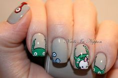 Hello Kitty Nail Art With Monsters Tutorial Alien Nails, Cat Nails, Nail Manicure, Nail Polish, Manicures, Hello Kitty Nails, Nail Time, Happy Nails, Nail Blog