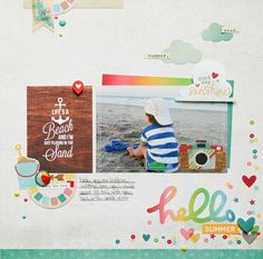 Hello Summer **Simple Stories DT** - Scrapbook.com - Made with Simple Stories Good Day Sunshine collection.