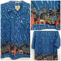 Coconut Pier Mens Shirt XXL 2X Hawaiian Blue Woody Wagon Surfboard Palm Trees   #CoconutPier #ButtonFront