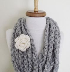 Grey Infinity Loop Circular Crochet Wool Scarf by knittingshop