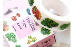 A pretty variety of colorful succulent plants on a standard size washi tape roll. Use to decorate your cards, projects, books and more.  Size: 15mm x 10m  What are washi masking tapes? Similar to masking tape, but tiny, much more beautiful and are typically made of Japanese rice paper. They are mini little rolls of tape that can easily be applied to many fun crafts, wrapping, package decoration and much more. They add a bit of color and fun and come in many designs and sizes. Look for more…