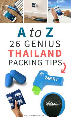 Thailand Packing Tips: An A-to-Z List of Tips for Your Thailand Packing - click through to read more: www.kohsamuisunset.com/thailand-packing-tips-1/ | A tidy, A-to-Z list of my best Thailand packing tips: 26 great suggestions for packing the perfect tech, toiletries, shoes, clothes, travel guides and more via @kohsamuiguide