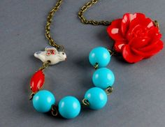 turquoise and red necklace