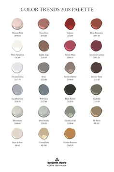 Explore the full Color Trends 2018 palette, which includes a full spectrum of reds as well as whites, neturals, and complementary bold hues.