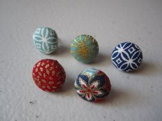 Japanese Fabric Thumbtacks  Gold Blue Red Green by adrisadorables, $5.50
