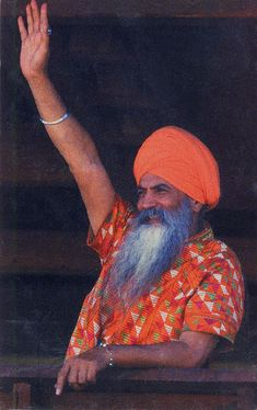 """This image of Yogi Bhajan was on a tiny postcard I had when I started KY 15 years ago. The vibrancy of this man compelled me to keep this dog-eared copy in my meditation space for years.  """"Love to all"""" is what he taught. Kundalini Yoga, Lily Chee, Meditation Space, Victorious, 15 Years, Teaching, Inspiring People, Affirmation, Witchcraft"""