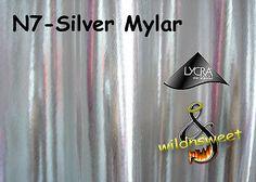"""60"""" Silver Mylar Spandex Polyester 2-Way Lycra Stretch Shiny Foil Novelty Fabric"""
