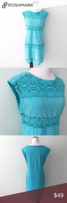 """The Limited blue green aqua Sheath Dress Beautiful spring dress. Has eyelet and crocheting on front. Some piling on back of dress, can easily be removed. Chest 19"""". Length 36.5"""". Cotton, poly blend. The Limited Dresses"""