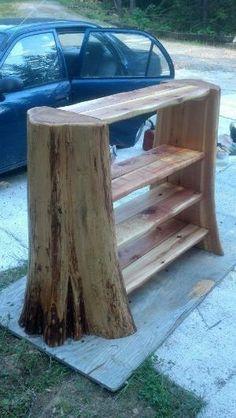 tree stump bookcase by eddie