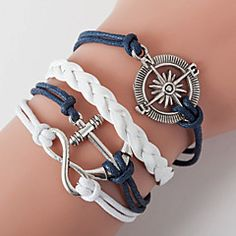 Men's Blue Anchor Braided/Cord Leather Handmade Multilayer Charm Bracelet Unisex
