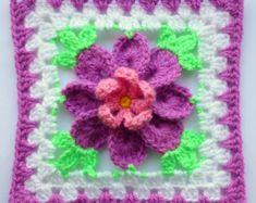 Instant Download Crochet PDF pattern - Flower in granny square (3)