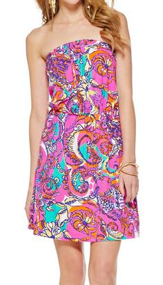 Lilly Pulitzer Atwood Strapless Dress in Sea and Be Seen