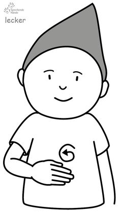lecker Babyzeichen Babyzeichensprache Gebärdensprache Babygebärden Kindergebärden GuK Baby Baden, Sign Language, Charlie Brown, German, Snoopy, Languages, Fictional Characters, Learn Sign Language, Kids Wagon