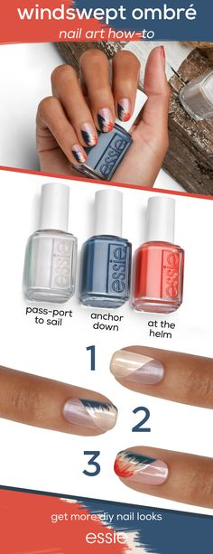 all aboard! the essie spring 2018 collection charts a course for chic in sea-loving shades that channel cruise cool and a preppy nautical vibe. try this DIY ombré nail art look at home for a mani that packs a punch. all you need are three shades- 'at the helm,' 'anchor down' and 'pass-port to sail' to get this nautical look. shop the shades now at essie.com.