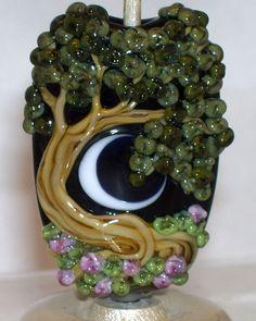 WSTGA~LUSH IRISH FIELD~TREE FLORAL MOON handmade lampwork focal glass bead #Lampwork By Molly Cooley