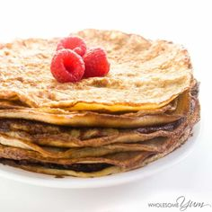 This gluten-free, low carb crepes recipe is like a better version of cream cheese pancakes, made with mascarpone. Healthy & easy, with just 4 ingredients.