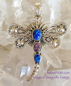"""""""Magical Dragonfly Energy"""" Sterling Silver Dragonfly Pendant featuring Amethyst and Fire Opal 
