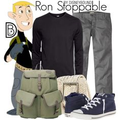 Ron Stoppable by leslieakay on Polyvore featuring H&M, Converse, disney, disneybound and disneycharacter