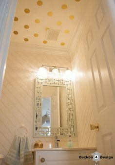 gold sharpie walls with gold wall vinyl polka dots on ceiling by Cuckoo4Design