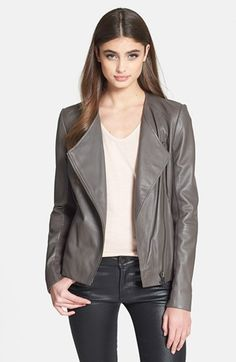 Free shipping and returns on Trouve Trouvé Collarless Leather Jacket at Nordstrom.com. Smooth, supple leather fashions a streamlined moto jacket inset with knit panels under the arms for a closer, more flattering fit.