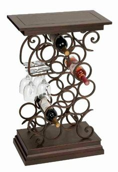 "Uniquely Designed Metal and Wood Decorative Wine Holder by Benzara. $126.90. Unique Decorative Style. 33""H, 21""W. Metal/Wood Material. Beautifully Designed. Metal Wood Rack With Glass & Wine Holder. Wine rack is made from cast metal in antique finish. Wine Rack hold 12 bottles and 4 wine glasses. Dimension: 33""H x 21""W. A great Bar Room Accessory."