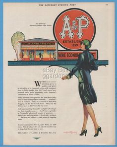 1929 Great Atlantic & Pacific Tea Co A&P Grocery Store Crandell Art Deco Ad