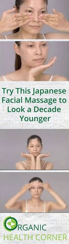 Try This Japanese Facial Massage to Look a Decade Younger via HTTP://www. Try This Japanese Facial Massage to Look a Decade . Beauty Care, Beauty Skin, Health And Beauty, Beauty Hacks, Beauty Tips, Diy Beauty, Massage Facial, Facial Yoga, Lymph Massage