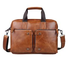 Men s Vintage Genuine Leather Briefcase Messenger Shoulder Bag Handbag  Business 460e078fbf
