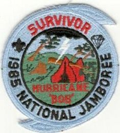 """1985 National BSA Jamboree  """"Hurricane Bob"""" survivor patch Civil Air Patrol, Decorative Plates, Trail, Eagle, Bob, Bob Cuts, Bob Sleigh, Bobs"""