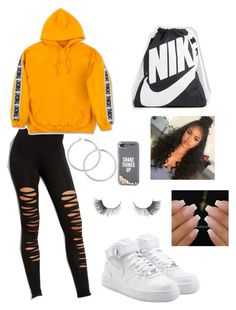 """School Outfit Baddie Swag Lazy"" by yaylexi on Polyvore featuring NIKE, Unicorn Lashes and Kate Spade"