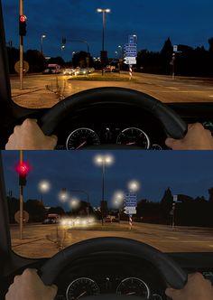 Nachts besser sehen: Schärfstes und kontrastreiches Sehen mit Rodenstock Autofahrerbrillen (oben) statt einer unscharfen, verschwommenen Wahrnehmung der Umwelt (unten).