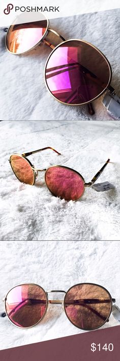 ⚡️Sale WILDFOX Dakota Round Pink Mirror Sunglasses Brand new with tags (from department store). Wildfox's rose-colored glasses with antique gold rims - so gorgeous! Sunnies come in an unbranded black microfiber pouch for safe keeping. No box. Channeling John Lennon & 1970's New York. Vintage-inspired, rounded frames featuring highly detailed metal work and a color-coated, flash mirror lens. Adjustable nose pads conform to fit most face shapes. CR39 optical grade lenses offering UV A and B…