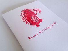 Hand Stamped Children's Hedgehog Birthday Card £2.90